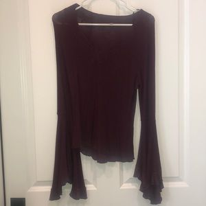 Free People Burgundy Knit Top with Foley sleeve